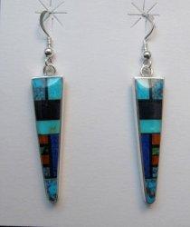Jim Harrison Navajo Narrow Multigem Inlay Dangle Earrings