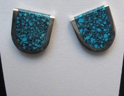 Image 0 of Jim Harrison Navajo U-Shaped Variscite Earrings