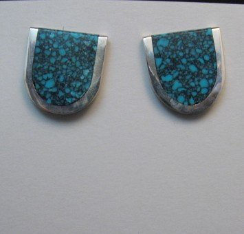 Image 2 of Jim Harrison Navajo U-Shaped Variscite Earrings