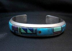 Jim Harrison Navajo Native American Multigem Inlay Bracelet, 6-1/2