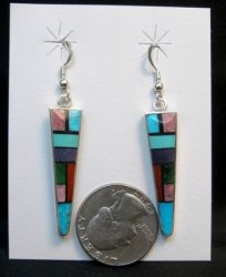 Jim Harrison Navajo Multi Stone Inlay Dangle Earrings