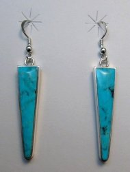 Jim Harrison Navajo Kingman Turquoise Dangle Earrings