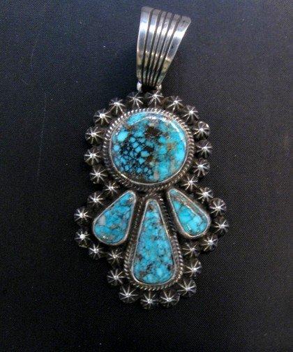 Image 1 of Navajo Native American Kingman Turquoise Pendant, Happy Piasso