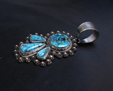 Image 2 of Navajo Native American Kingman Turquoise Pendant, Happy Piasso