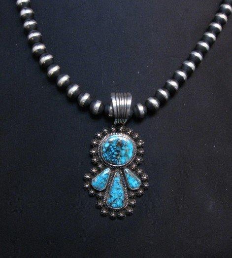 Image 3 of Navajo Native American Kingman Turquoise Pendant, Happy Piasso