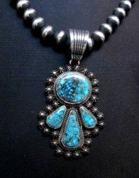 Navajo Native American Kingman Turquoise Pendant, Happy Piasso