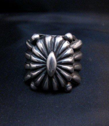 Image 0 of Wide Navajo Revival Style Silver Ring Sz6-3/4, Delbert Gordon