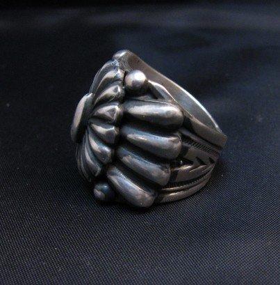 Image 1 of Wide Navajo Revival Style Silver Ring Sz6-3/4, Delbert Gordon
