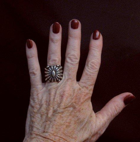 Image 2 of Wide Navajo Revival Style Silver Ring Sz6-3/4, Delbert Gordon