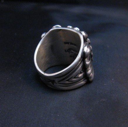 Image 3 of Wide Navajo Revival Style Silver Ring Sz6-3/4, Delbert Gordon