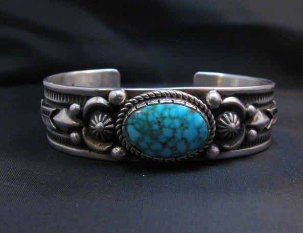 Image 1 of Albert Jake Navajo Kingman Turquoise Silver Cuff Bracelet