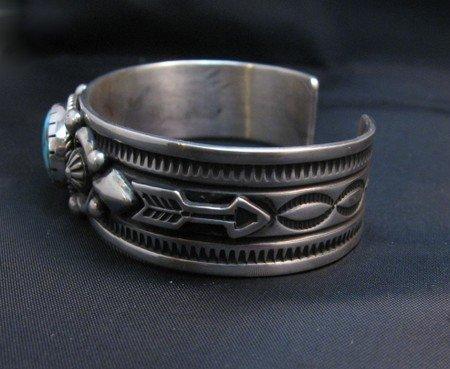 Image 2 of Albert Jake Navajo Kingman Turquoise Silver Cuff Bracelet