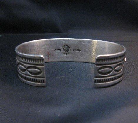 Image 4 of Albert Jake Navajo Kingman Turquoise Silver Cuff Bracelet