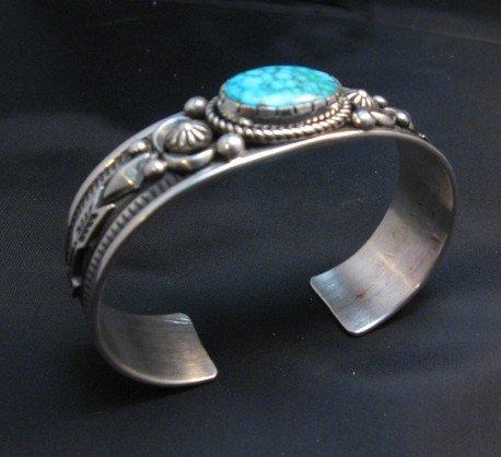 Image 5 of Albert Jake Navajo Kingman Turquoise Silver Cuff Bracelet