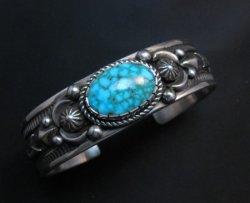 Albert Jake Navajo Kingman Turquoise Silver Cuff Bracelet