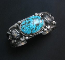 Heavy Albert Jake Navajo Kingman Turquoise Silver Bracelet