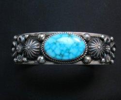 Albert Jake Navajo Birdseye Kingman Turquoise Silver Bracelet, Large