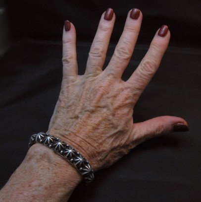 Image 5 of Native American Navajo Star Studded Bracelet, Happy Piasso, Medium