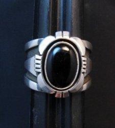Navajo Cooper Willie Black Onyx Silver Ring Sz10