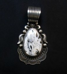 Big Navajo American White Buffalo Silver Pendant, Albert Jake