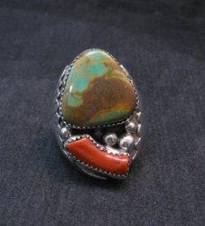 Mens Native American Navajo Turquoise Coral Silver Ring Sz11-1/2, Michael Thomas