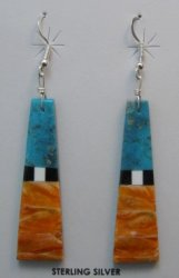Long Santo Domingo MultiGem Inlaid Earrings, Robert Coriz