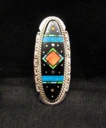 Large Navajo Multi Stone Inlay Silver Ring sz7-3/4