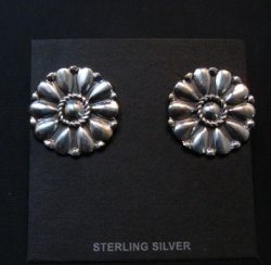 Melvin Francis Navajo Silver Cluster Concho Earrings
