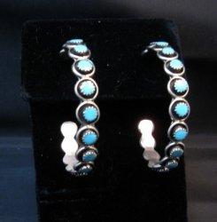 Big Zuni Sleeping Beauty Turquoise Hoop Earrings, Iva Booqua