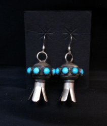 Navajo ~ Monica Smith ~ Hand Made Silver Turquoise Squash Blossom Earrings