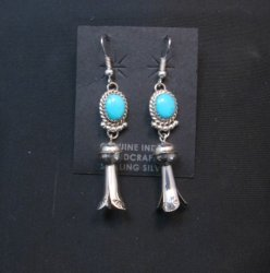 Long Native American Navajo Turquoise Squash Blossom Earrings
