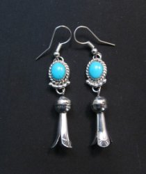 Native American Navajo Turquoise Squash Blossom Dangle Earrings