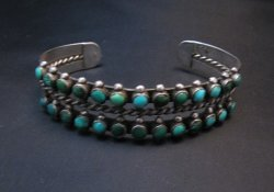 Vintage Native American Double Row Turquoise Silver Bracelet