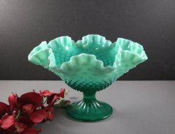 Fenton Emerald Green Opalescent Hobnail Footed Bowl Compote