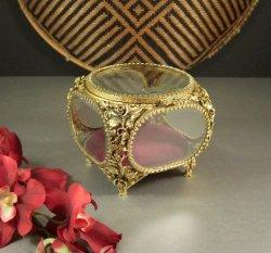 Matson Beveled Glass Ormolu Jewelry Casket Trinket Dresser Wedding Ring Box
