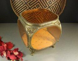Largest Beveled Amber Glass Ormolu Jewelry Casket Vanity Dresser Box