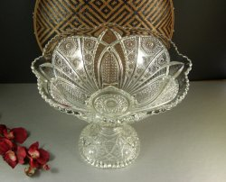 EAPG Indiana Glass Paneled Daisy Punch Bowl on Stand