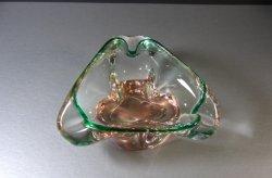 Hand Blown Amber and Green Art Glass Bowl Ashtray Murano Czech Sklo