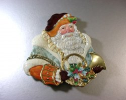 Fitz and Floyd Clairmont SANTA Canape Dish Tray Plate Wall Plaque