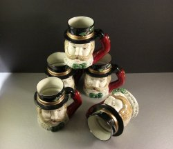 5 Omnibus Christmas Village Carolers Tankards Mugs 1993 Fitz and Floyd