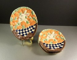 Set of 4 Easter Bunny Canape Plates Candy Dishes Appetizer Trays