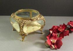 Globe Ormolu Beveled Glass Jewelry Casket Trinket Dresser Box