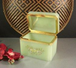 Pale Green Opaline Jewelry Casket Box / Dore Ormolu Mounts with Original Tag