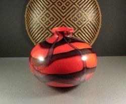 Art Deco KRALIK Czech Bohemian Red Art Glass Webbed Ball Vase Signed! Loetz Era!