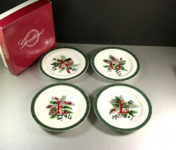 Garland NOEL Plates by Royal Gallery / Set of 4 / 1992