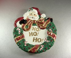 Fitz and Floyd Santa with Wreath Canape Plate Wall Plaque / Cookie Serving