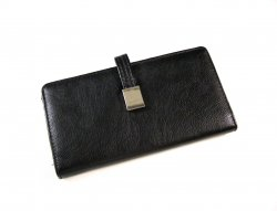 Womens large bi-fold wallet clutch black faux leather kiss lock coin