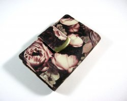 Womens bi-fold wallet clutch floral print faux leather w/ kiss lock coin purse