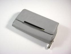 Charlotte Russe Wallet Clutch / large gray zip around textured faux leather