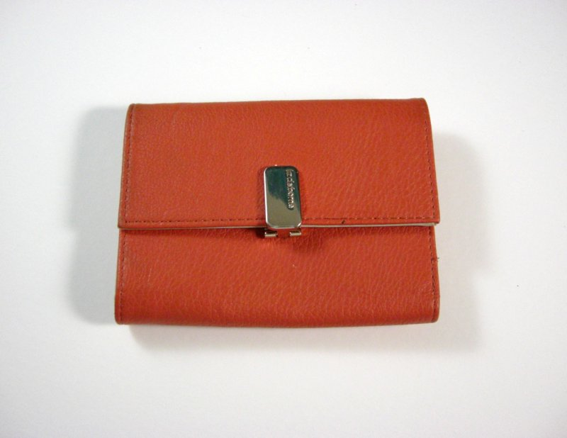 Image 0 of Liz Claiborne Orange/Peach Faux Leather Wallet Tri fold w/ flap and back zip coi